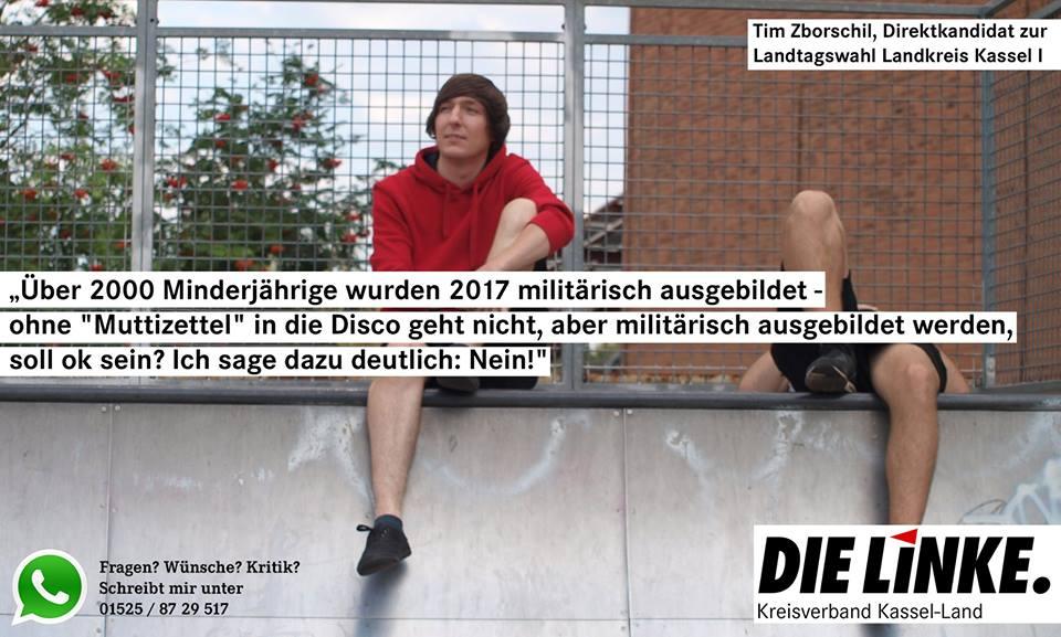 Tim Zborschil: Werbeverbot für Bundeswehr durchsetzen!