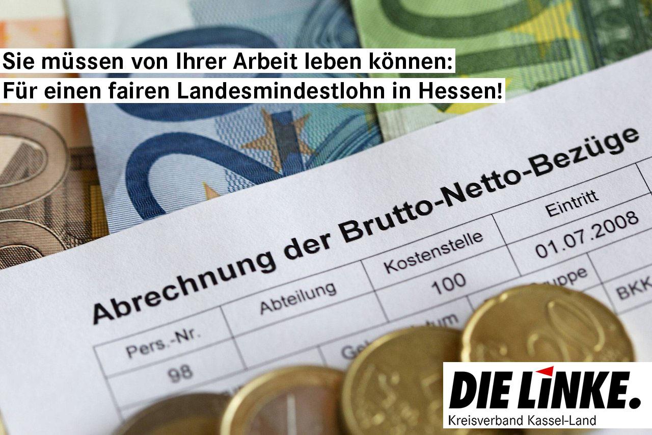 Für ein Gehalt, von dem man in Hessen leben kann: 12 Euro Mindestlohn flächendeckend!